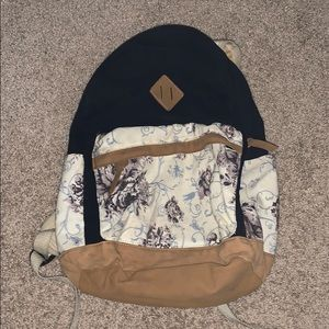 Mossimo black with floral design backpack